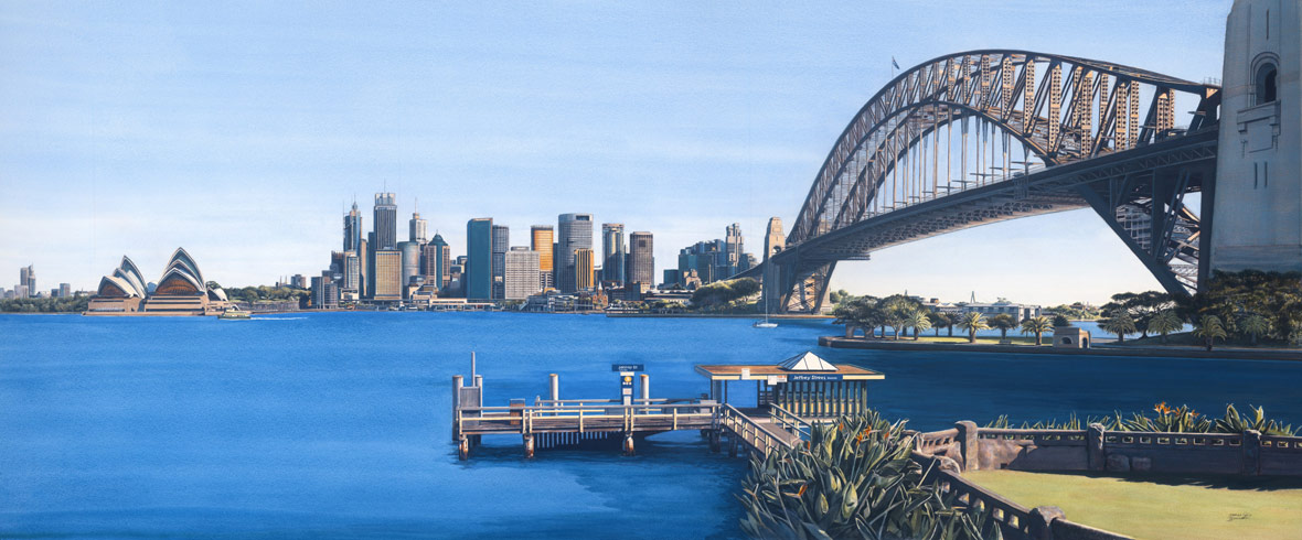 Watercolour Painting by James Boissett - Sydney Harbour Panorama